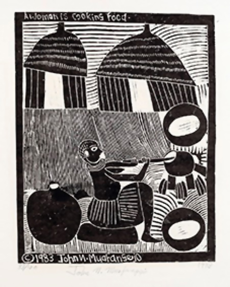 John Muafangejo (1943 – 1987) <br>A Women is Cooking Food <br>linocut 33/150 (only 112 printed)<br>40 x 32 cm<br>(1983)