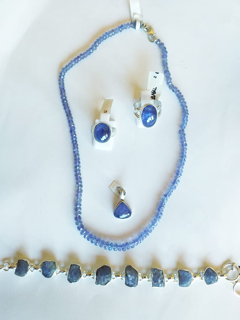 A selection of tantalizing Tanzanite jewellery.