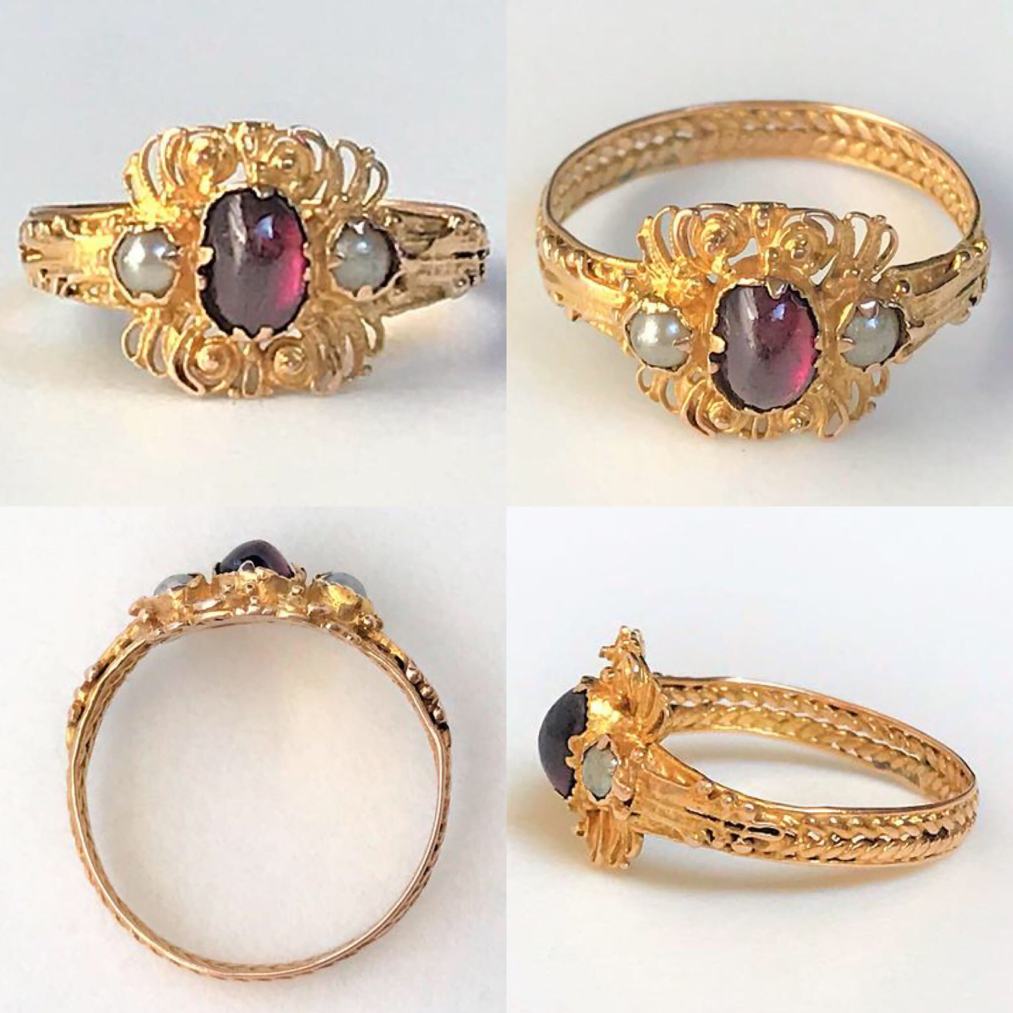 Antique 18ct Gold Ruby and Pearl Ring
