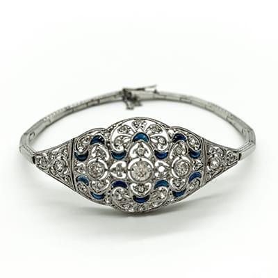 Art Deco Platinum Bracelet set with <br>Diamonds and Sapphires. Argentina, <br>Circa 1920's.