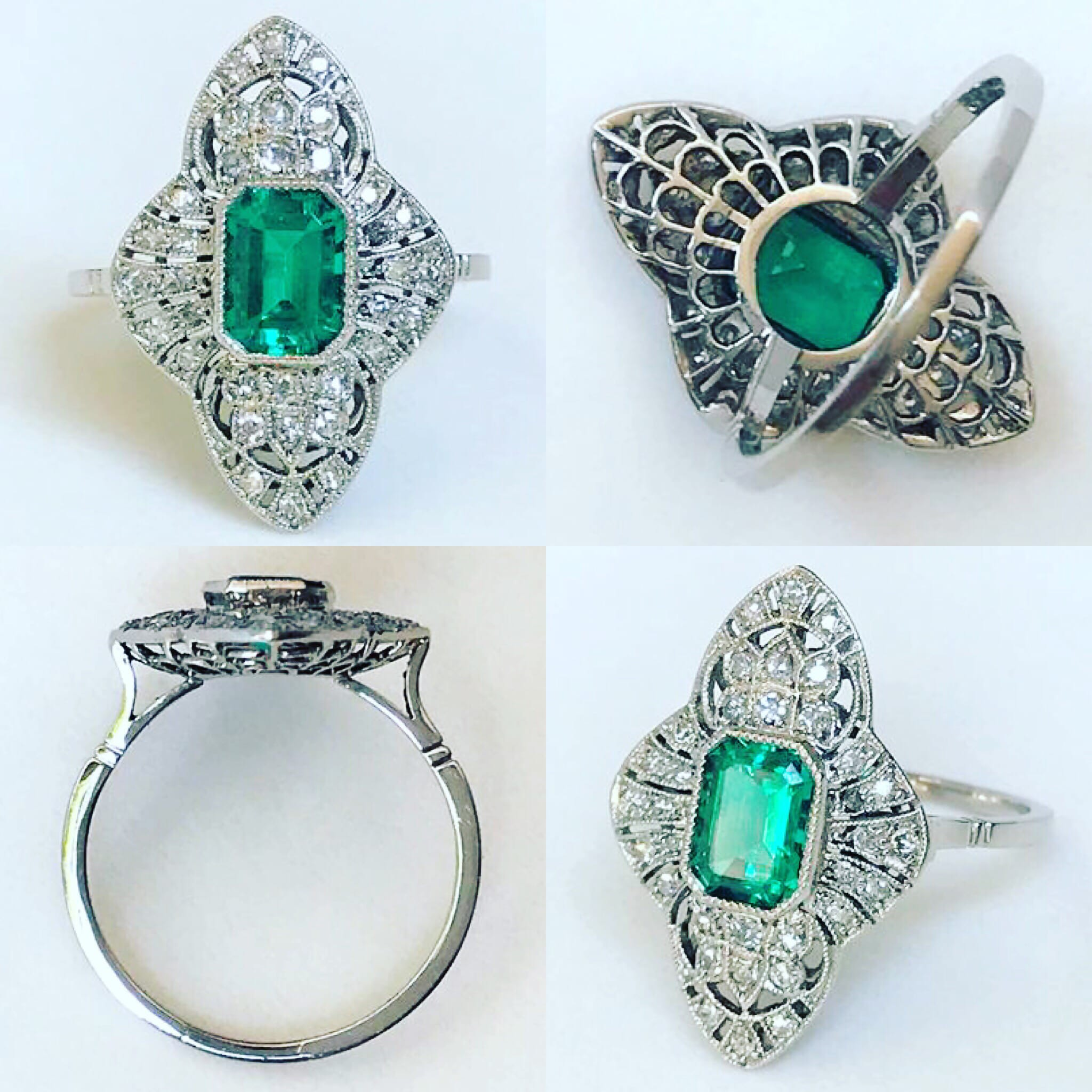 Art Deco Style Vintage Platinum Emerald and Diamond Ring