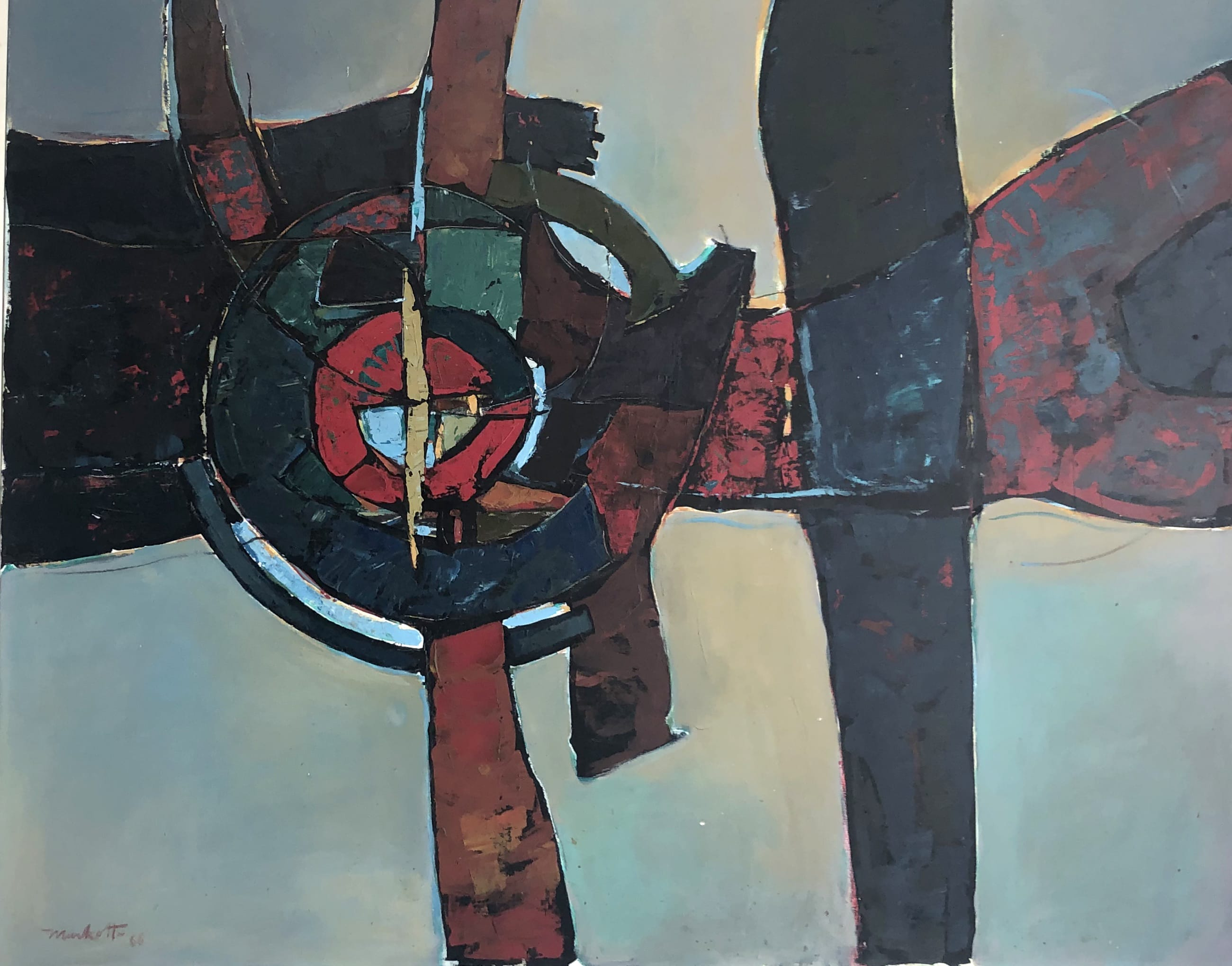 "Dirk Meerkotter oil on canvas, Silhouette 4, 1968. <br>Exhibited ""Transvaal Academy""."