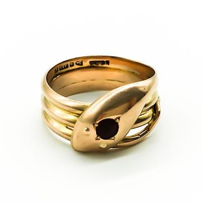 Edwardian 9ct Rose Gold Snake Ring <br>with Garnet Eye. Chester 1918.
