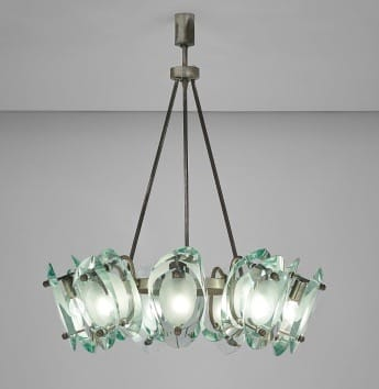 Extremely rare Fontana Arte ceiling light, Milan, Italy. <br>Designed by Max Ingrand 1959.