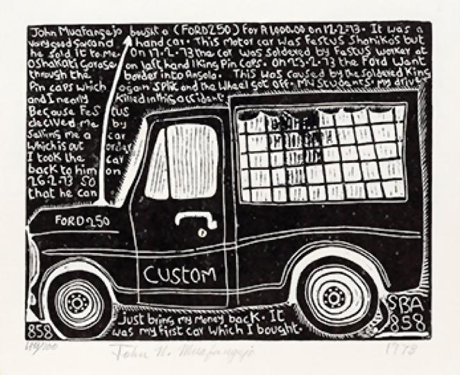 John Muafangejo (1943 – 1987) <br>Ford 250 Custom <br>linocut 31/100 (only 60 printed)<br>26 x 33 cm<br>(1973)