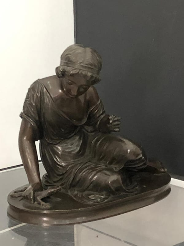 French Classical Bronze Sculpture<br>of a Girl with a Lizard<br>by Stephen (Siegfried) Makepiece<br>(1871-1950).