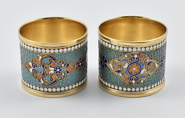 Pair of Russian '84' silver and enamel<br>serviette rings marked for Moscow,<br>circa 1880 by Gustav Klingert (1865-1916).