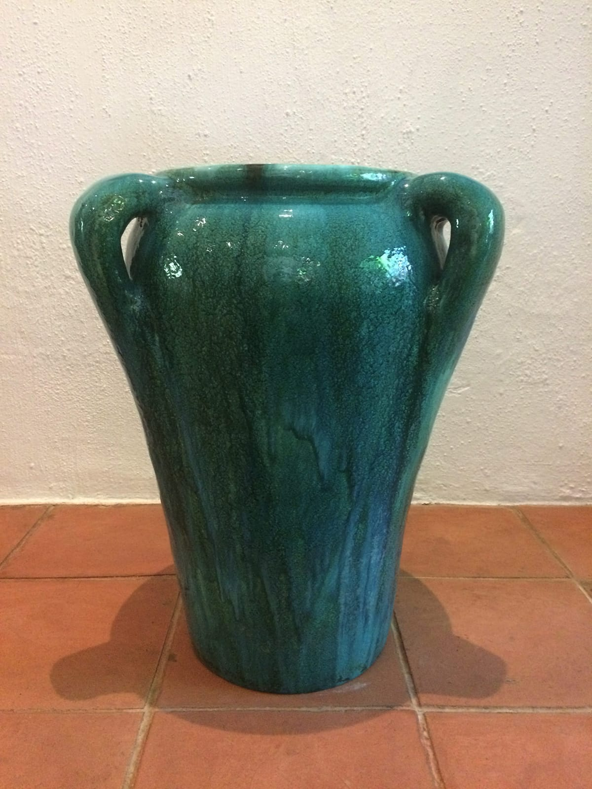 A large Ceramic Studio Blue-Green<br>Aladin-style 3 Handled Floor Pot, 1930s (h: 60cm)<br> Provenance: Joan Methley, the co-founder<br>of the Ceramic Studio and the<br>manager of Linnware