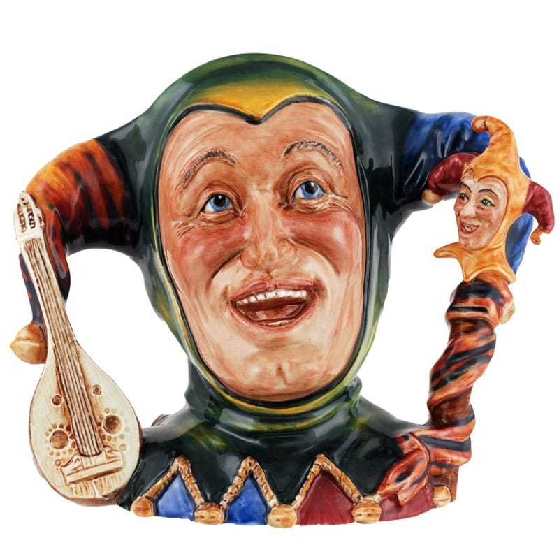 "Jester L: Jester Large<br>Jester Character Jug from the Connoisseur<br> Collection World-wide limited edition<br>of 250 Hand-made and hand-decorated<br>in Stoke-on-Trent, England<br>Height:6.75""<br>Intro Date: 2014"