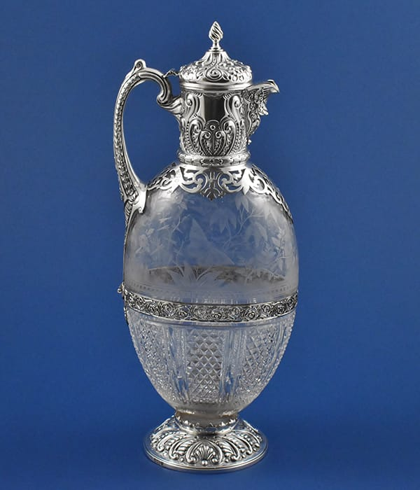 Magnificent Victorian silver and<br>cut glass Claret Jug marked for<br>London 1894 by Charles Edwards.