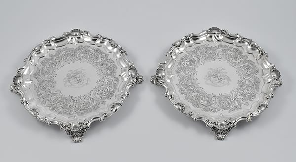 Pair of William IV silver salvers marked for London 1837<br>by Paul Storr with engraved arms for<br>the Campbell family.