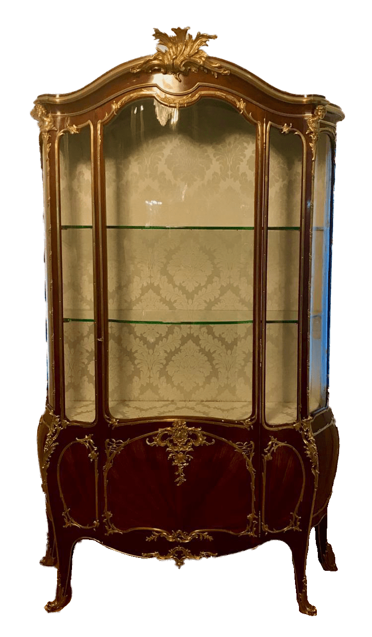 François Linke (1855 - 1946) Louis XV style<br> gilt bronze mounted Kingwood vitrine mounts<br>designed by Léon Messagé with lock plates by <br>Ch. Leidenroth Paris. Circa 1890.