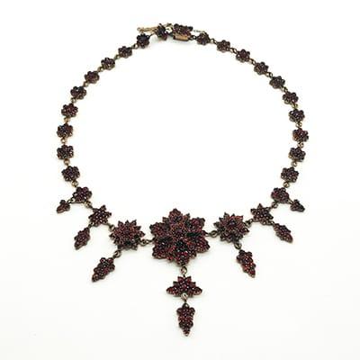 Victorian Garnet Chandelier Necklace <br>set in Garnet Gold.
