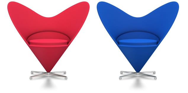 Pair of blue, and a pair of red Heart Cone chairs, <br>designed by Verner Panton, Denmark in 1958.