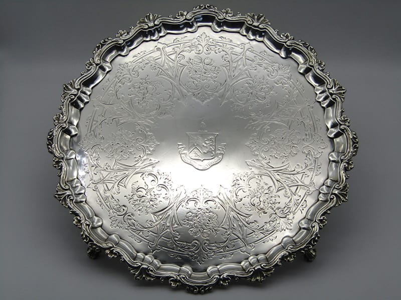 One George II silver salver by specialist salver maker <br>Robert Abercromby. London 1743. <br>Weight: 1410 grams.