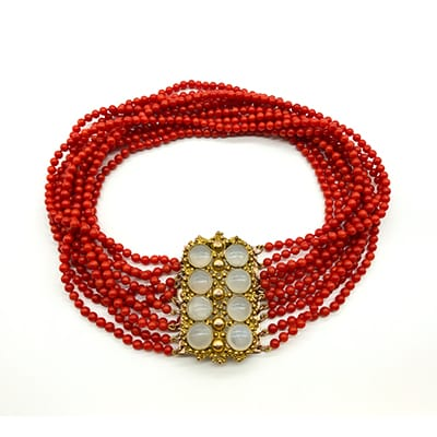 10 Strand Natural Coral Choker <br>with Victorian Moonstone Ormolu clasp.