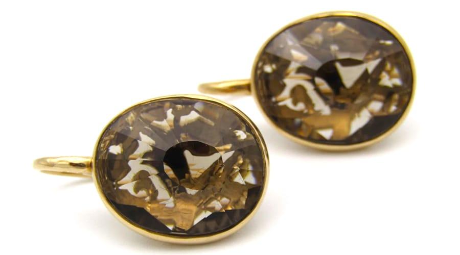 18K rose gold smokey quartz earrings by designer Pomellato.