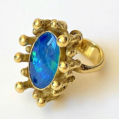 18ct Gold and Black Opal Ring.