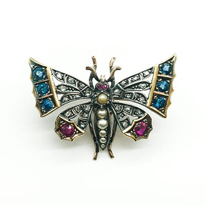 18ct Gold and Silver Victorian <br>Butterfly Brooch set with Sapphires,<br> Rubies, Diamonds and Seed Pearls.