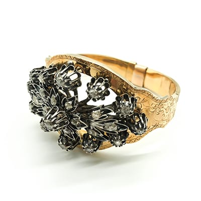 18ct Gold and Silver Victorian bangle <br>with 0ld Cut Diamonds. European.