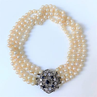 18ct White Gold, Sapphire, Diamond <br>and Pearl Choker Necklace.