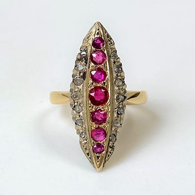 Antique 18ct Yellow Gold Ruby and <br>Diamond Ring.