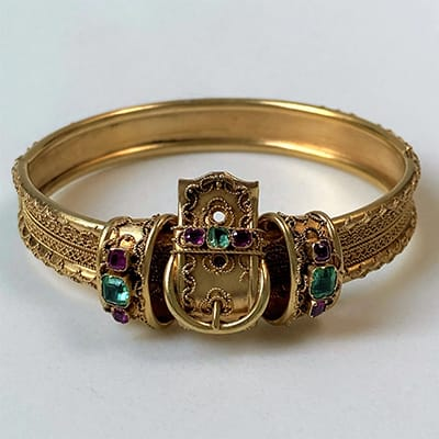 Antique 20ct Gold, Emerald and Ruby Hinged Bangle Bracelet