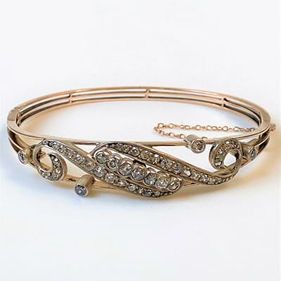 Antique 9ct Gold and Silver-Fronted, <br>Diamond Bracelet.