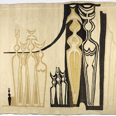 """Bettie Cilliers-Barnard (SA 1914 - 2010),""""African Figures"""", mohair tapestry woven by Marguerite Stephens, 1971"""
