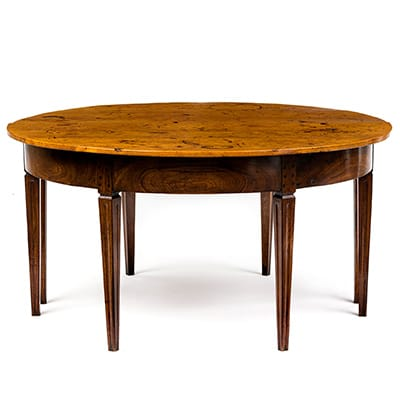 A pair of Cape Neo-Classical <br>Cedarwood and Stinkwood Demi-Lune <br>Tables, early 19th C.