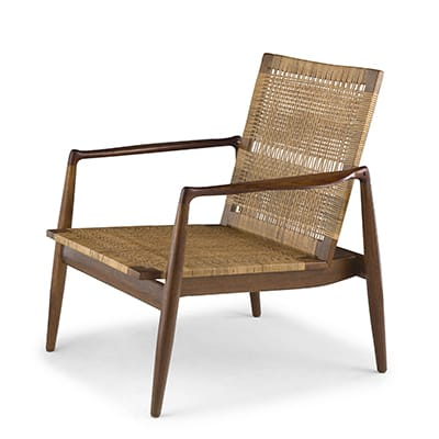 Finn Juhl Easy chair SW 96, 1956. <br>Cabinetmaker Soren Willadsen Mobelfabrik, <br>Denmark. Oak frame with teak arms <br>and original woven cane seat & back.
