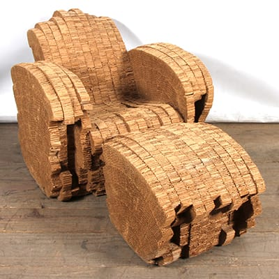 Frank Gehry Little Beaver Chair <br>& Ottoman, 1987. Edition no. 59/100.<br> Laminated cardboard construction.<br> Designed in 1980 as part of his <br>Experimental Edges range, and produced <br>by New City Editions for Vitra furniture <br> in 1987. Brass plaque label underneath. <br>84 x 92 x 82 cm.