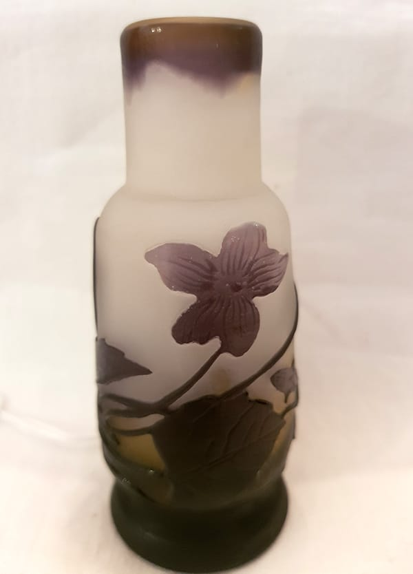 Galle cameo glass amethyst cabinet vase.
