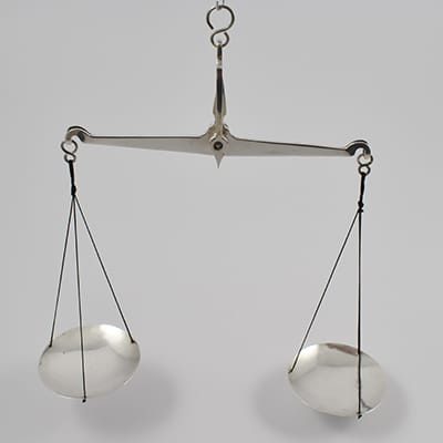 George III silver pair of Apothecary scales marked for London 1823 by John Clark.