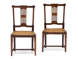 RIAAN BOLT – A PAIR OF CAPE STINKWOOD AND YELLOWWOOD INLAID NEO-CLASSICAL CHAIRS