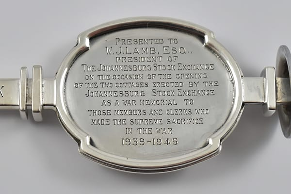 South African '925' Sterling silver presentation key by Kurt Jobst, dated September 12, 1949. Presented by the M.O.T.H (Memorable Order of Tin Hats) with presentation inscription.