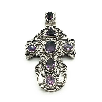 Large Mexican Silver Cross set with <br>Amethysts. Circa 1940's.