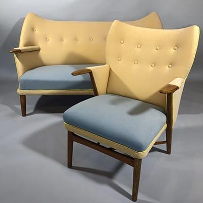 Kurt Ostervig (Dk 1912-86). Model 53 sofa & lounge chair, 1955. Rolschau Mobler, Denmark. Teak frame with original fabric. Reference: Design Museum Danmark, furniture index, ref. no. RP17545.