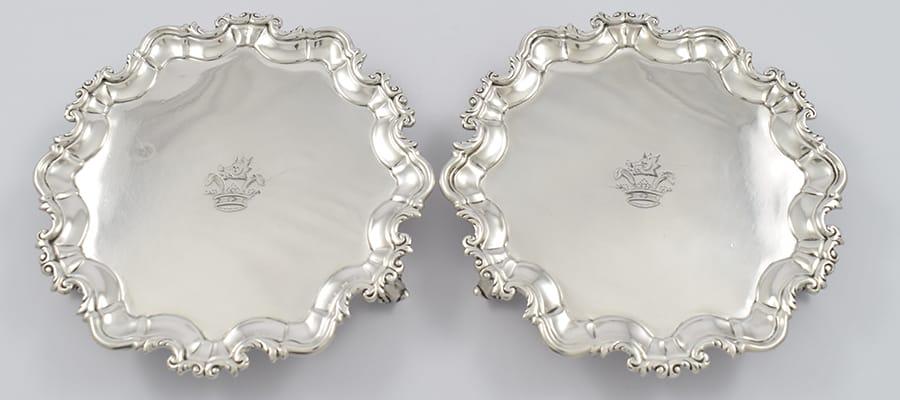 Pair of Dublin silver salvers John Walker circa 1771-1773.