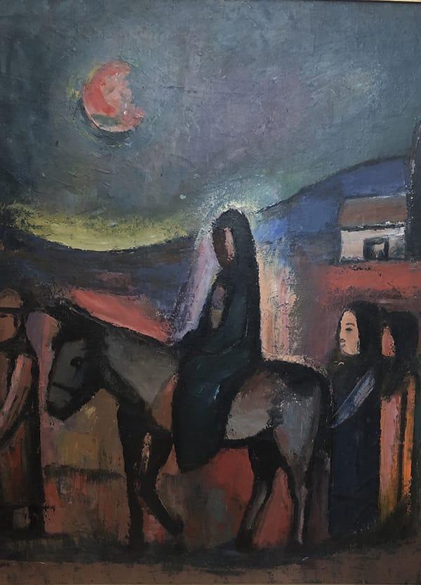 Pranas Domsaitas (1880-1965) <br>Flight into Egypt (untitled), c.1960<br> Oil on canvas/board Signed 73 x 60 cm.