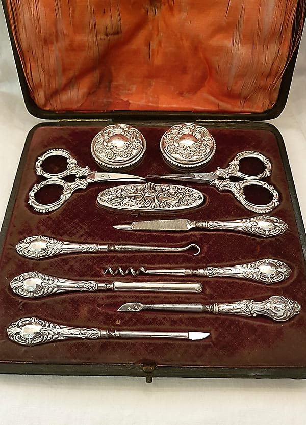 Silver manicure set.