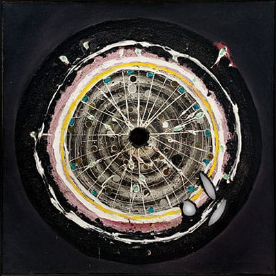 """Christo Coetzee (SA 1929 - 2000)<br> """"The Vortex"""" oil and mixed media on canvas <br>signed & dated Paris 7/1/63 verso 100 x 100cm"""