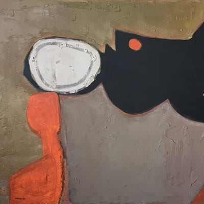 Trevor Coleman (SA 1936-) Space Craters, <br>1963 Oil & marble dust on canvas <br>Signed & dated, titled on reverse <br> 77 x 122 cm.