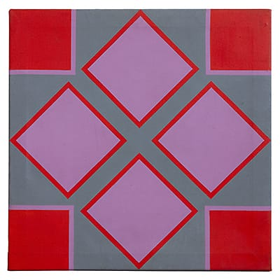 Trevor Coleman (SA 1936-) Diamond <br>Acrylic on canvas Signed on reverse 76 x 76 cm <br>Illustrated on pg. 135, Trevor Coleman <br>Abstraction 1960-1977 SMAC.