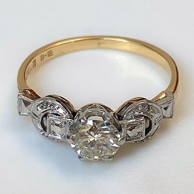 Vintage 18ct Yellow Gold, Platinum and Diamond Ring