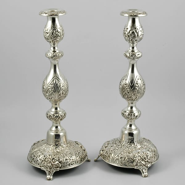 Pair of Victorian Silver Sabbath candlesticks <br>marked for London 1899 <br>by Moses Salkind & Co.
