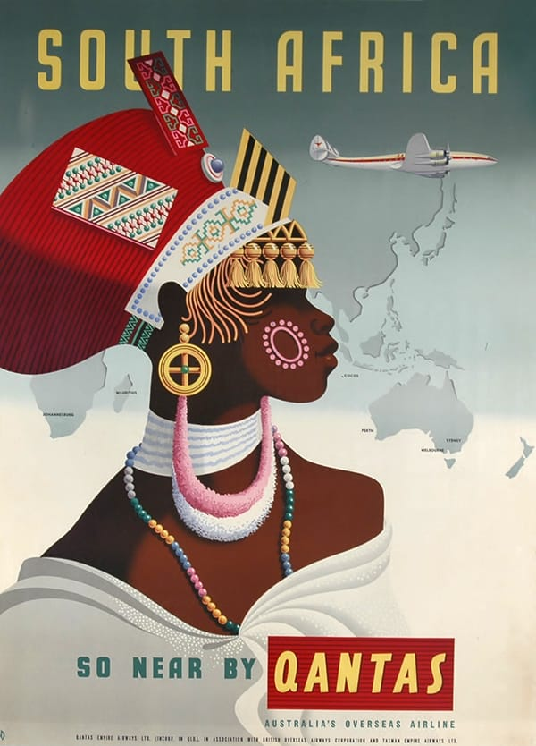 South African Travel Poster circa 1955 <br>- SO NEAR BY QANTAS-AUSTRALIA'S OVERSEAS AIRLINE. <br>Printed in Australia by POSTERS PTY. LTD.