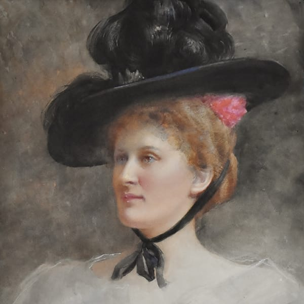 Tennyson Cole (British 1862 – 1939). <br>Watercolor/gouache on paper <br>signed Tennyson Cole. Inscribed on the back: <br>Mrs. Dorothy Parker wife of Charles Parker <br>painted at Caledon Baths in 1901.